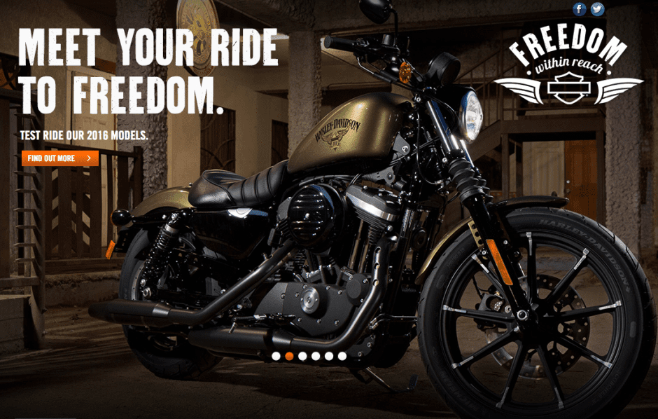 "A Harley Davidson ad. Picture of a motorcycle with the words ""Meet your ride to freedom."""
